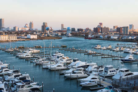 commision: Overlooking State Marina Harbor in Atlantic City, New jersey at sunset