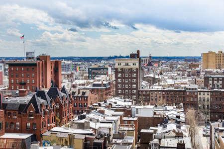 봄 동안 필라델피아 펜실베니아에서 중심 도시 서쪽의 공중 스톡 콘텐츠