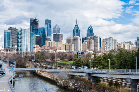 aerial from south street bridge of philadelphia pennsylvania above schulykill trail