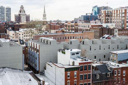 시내 필라델피아, 봄에서 벤자민 프랭클린 다리에서 펜실베니아의 스카이 라인 스톡 콘텐츠