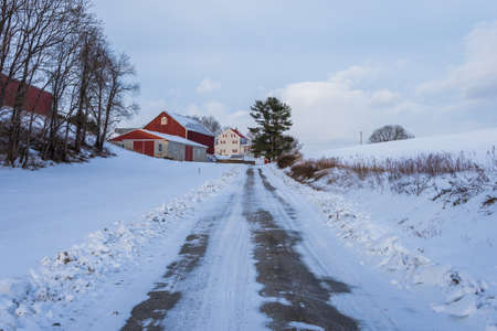 Snowy country land in southern york county in pennsylvania Stock Photo