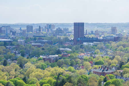 Aerial Skyline of New Haven Connecticut from East Rock in Summer Stock Photo - 85044356