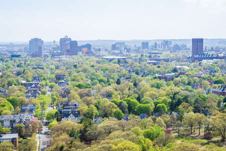 Aerial Skyline of New Haven Connecticut from East Rock in Summer