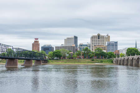 Harrisburg, Pennsylvania from city island across the susquehanna river