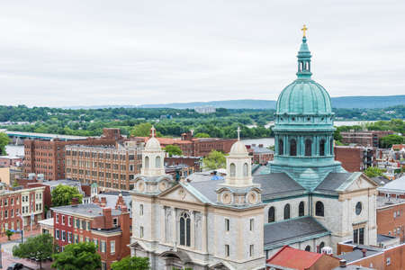 Aerial of Historic downtown Harrisburg, Pennsylvania next to the capitol