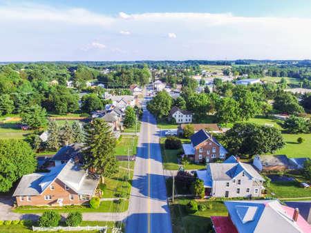 townhomes: Aerial of Main Street Area in Shrewsbury, Pennsylvania Stock Photo