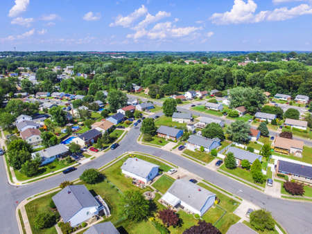 townhomes: Aerial of a Neighborhood in Parkville in Baltimore County, Maryland