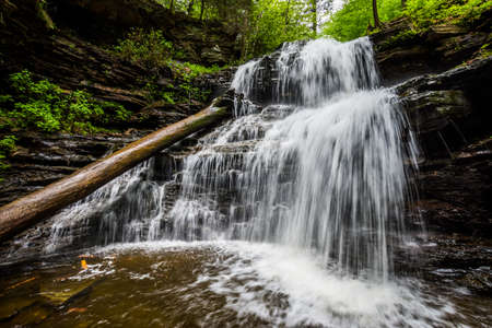 Scenic Waterfall in Ricketts Glen State Park in The Poconos in Pennsylvania