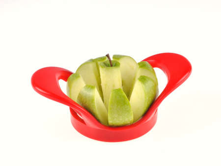 granny smith apple: Granny Smith apple on white background cut out Stock Photo