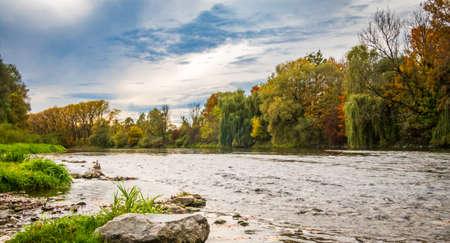 German river Isar at bavarian city Freising Archivio Fotografico