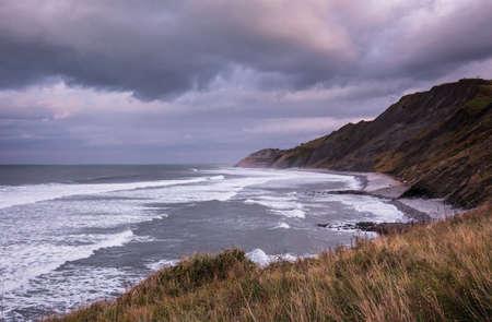Spain Atlantic Ocean Euskadi Colored Flysch Cliffs Rocks Oceanside Landmark Bilbao