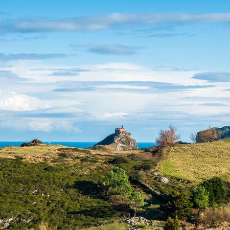 Euskadi's famoust: Monastery of Guatxelugatxe peninsula from far away