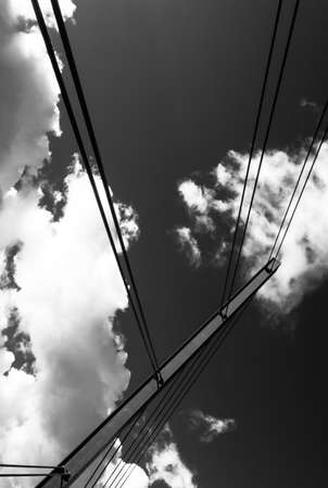 Wire Cables of Suspension Bridge Black and White Picture taken from below