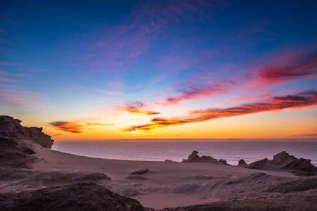 Rocky Beach Sunset Atlantic ocean Morocco Archivio Fotografico