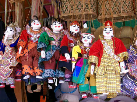 puppets: Burmese puppets at the market
