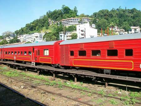 srilanka: Red train in Sri-Lanka