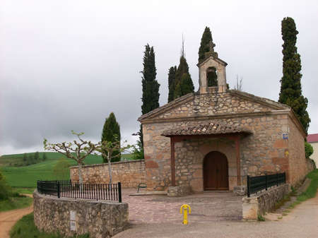 Landscape with a chapel in Spain on the road to compostela