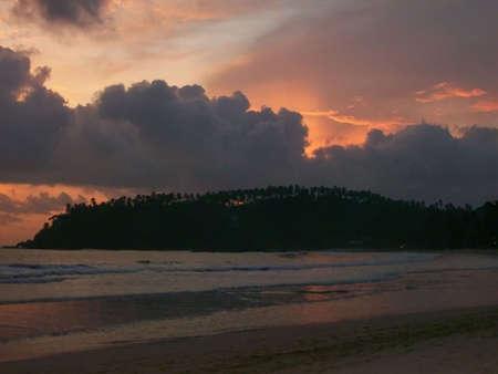 srilanka: Sunset on the beach  in Sri-Lanka