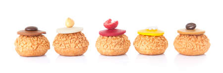 five color cake french pastry isolated in white background Archivio Fotografico