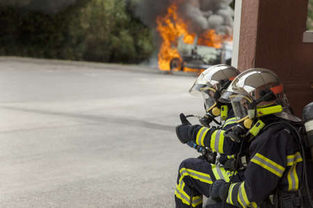 french firefighter binomial attac on car fire say ok emergency brigade