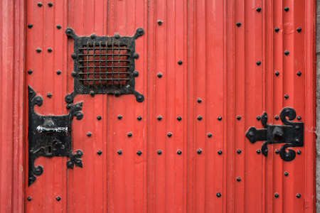 massive: Massive red, wooden door