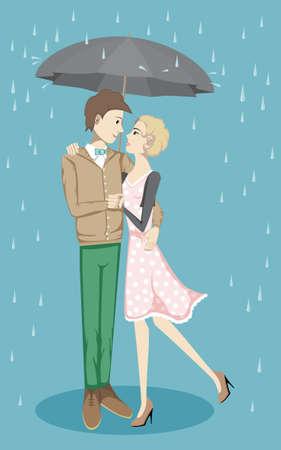 sotto la pioggia: Coppia sotto un ombrello sotto la pioggia, illustrazione vettoriale Vettoriali