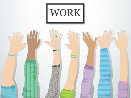 Los brazos levantados buscan una ilustración de empleo