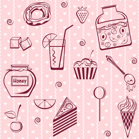 brownie: Seamless contour sweets set on a pink background.