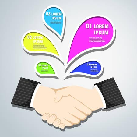 transakcji: Handshake, business transactions and specified options. Ilustracja