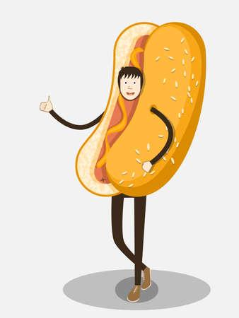 hotdog: Man in a suit hot dog. Illustration