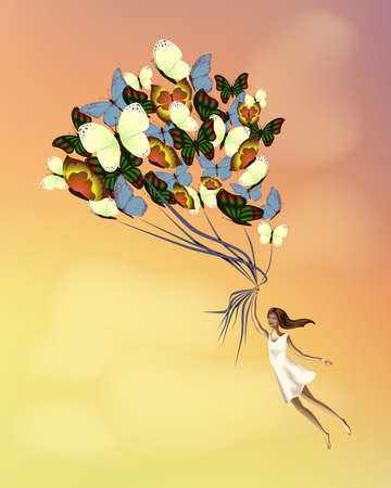 miracles: Girl flying on butterflies.