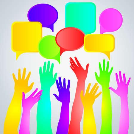 hands up: Colorful raised hands on light background. Illustration