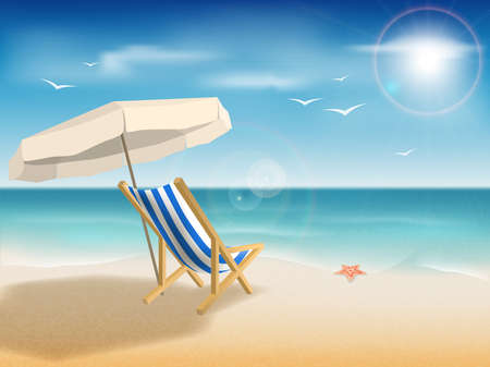 Deck chair under an umbrella on a sandy beach under the bright sun.