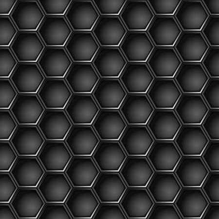 Seamless geometric pattern of hexagons. Metal background.