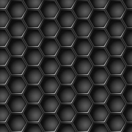 Seamless geometric pattern of hexagons. Metal background.