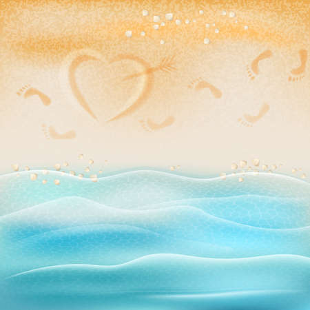 footprints in sand: Abstract background, sea and beach, footprints and drawing a heart in the sand. Illustration