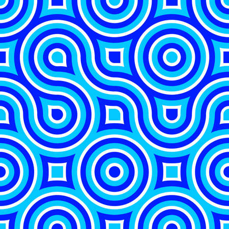 stripped: Seamless pattern of circles and flowing lines. Illustration