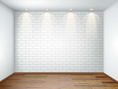 Interior with empty white room with white brick wall and wooden floor. Illustration