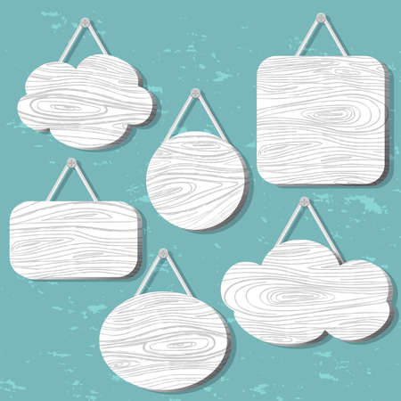suspended: White wood speech bubbles set. Icon, sign cloud.