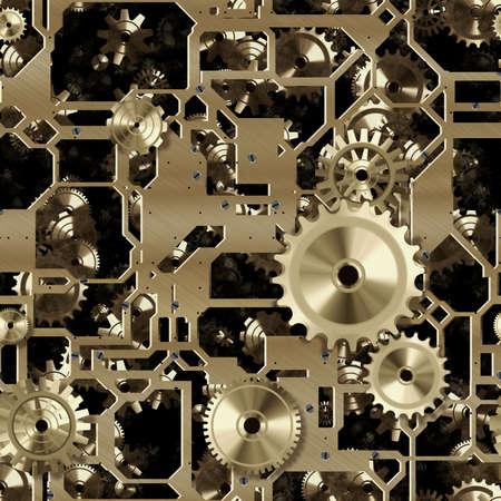 gearing: Seamless gear mechanism.Gold background texture.