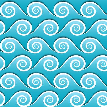 Naadloos patroon van blauwe golven. Vector achtergrond.