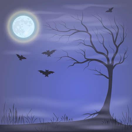 night moon: Mysterious night landscape under the moon. Halloween vector illustration.