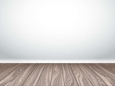 plinth: Empty white wall and parquet. Interior empty room.  Illustration