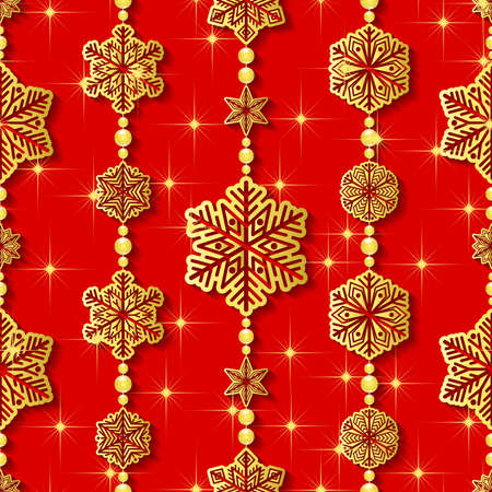 gold snowflakes: Gold snowflakes on red background. Seamless winter pattern. Vector illustration Illustration