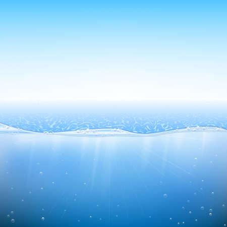 Abstrakte blaue Wasser Hintergrund. Meer und Himmel Hintergrund. Vektor-Illustration EPS-10.