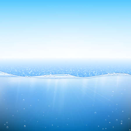 sea water: Abstract blue water background. Sea and sky background. Vector illustration EPS 10. Illustration