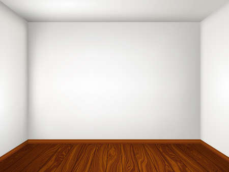 wall decor: Interior with empty room with white walls and wooden floor. Vector illustration eps 10. Illustration