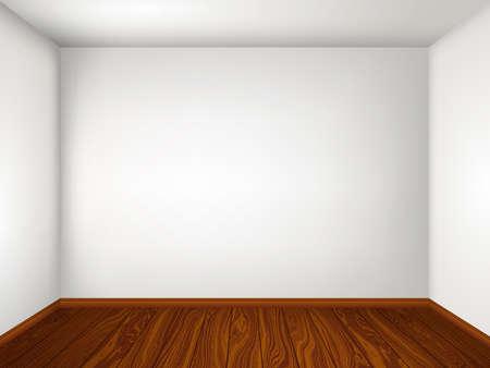 Wnętrze z pustym pokojem z białymi ścianami i drewnianą podłogą. Ilustracja wektorowa eps 10. Ilustracje wektorowe