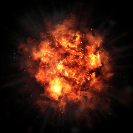 大爆発。黒の背景に明るい爆発。