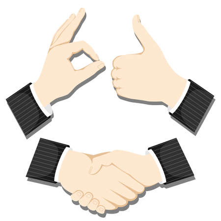 finger up: Business handshake and hand sign.